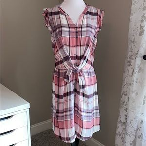 Skies Are blue flannel dress size M